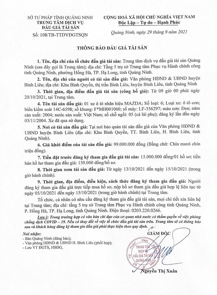 Ngày 20/10/2021, đấu giá xe ô tô MAZDA tại tỉnh Quảng Ninh ảnh 2