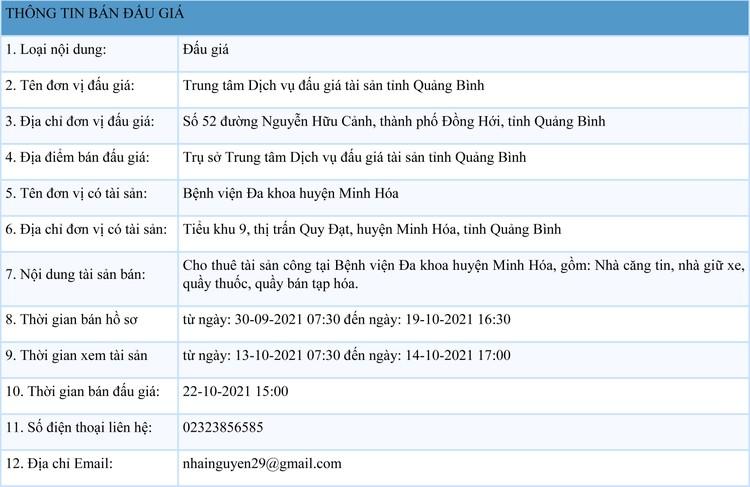 Ngày 22/10/2021, đấu giá cho thuê tài sản công tại Bệnh viện Đa khoa huyện Minh Hóa, tỉnh Quảng Bình ảnh 1