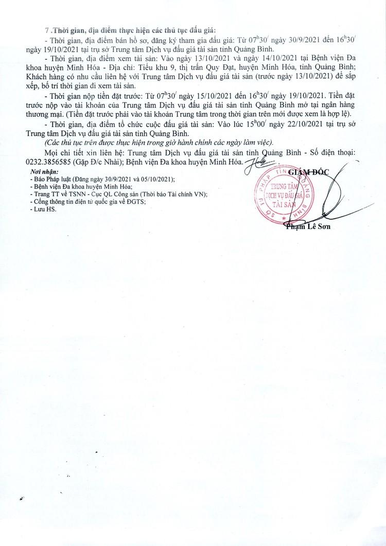 Ngày 22/10/2021, đấu giá cho thuê tài sản công tại Bệnh viện Đa khoa huyện Minh Hóa, tỉnh Quảng Bình ảnh 3