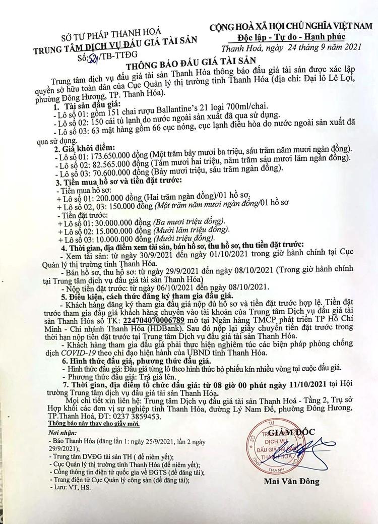 Ngày 11/10/2021, đấu giá tài sản bị tịch thu tại tỉnh Thanh Hóa ảnh 2