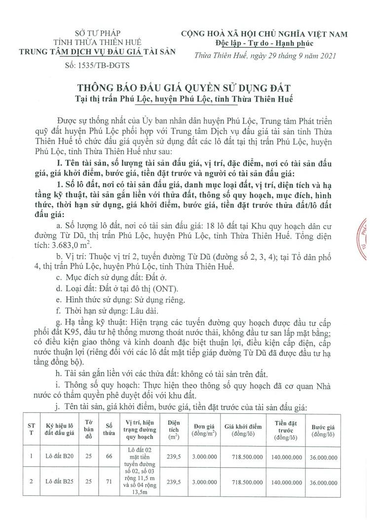 Ngày 21/10/2021, đấu giá quyền sử dụng 18 lô đất tại huyện Phú Lộc, tỉnh Thừa Thiên Huế ảnh 2