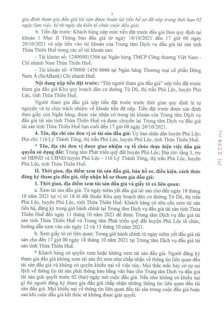 Ngày 21/10/2021, đấu giá quyền sử dụng 18 lô đất tại huyện Phú Lộc, tỉnh Thừa Thiên Huế ảnh 4
