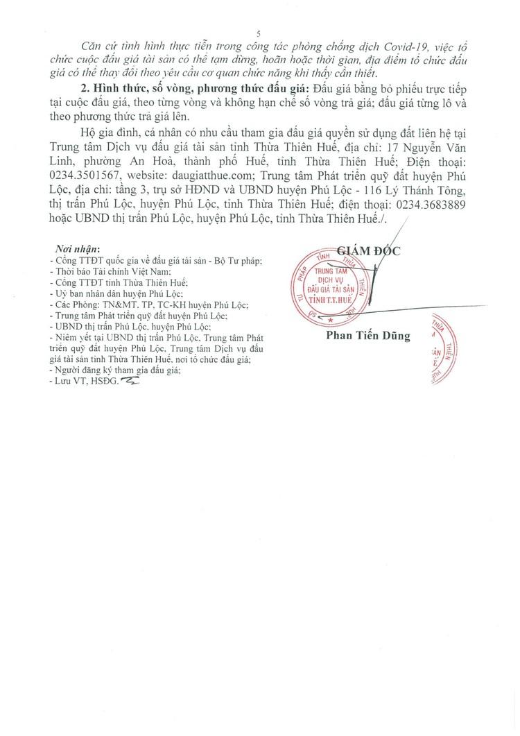 Ngày 21/10/2021, đấu giá quyền sử dụng 18 lô đất tại huyện Phú Lộc, tỉnh Thừa Thiên Huế ảnh 6