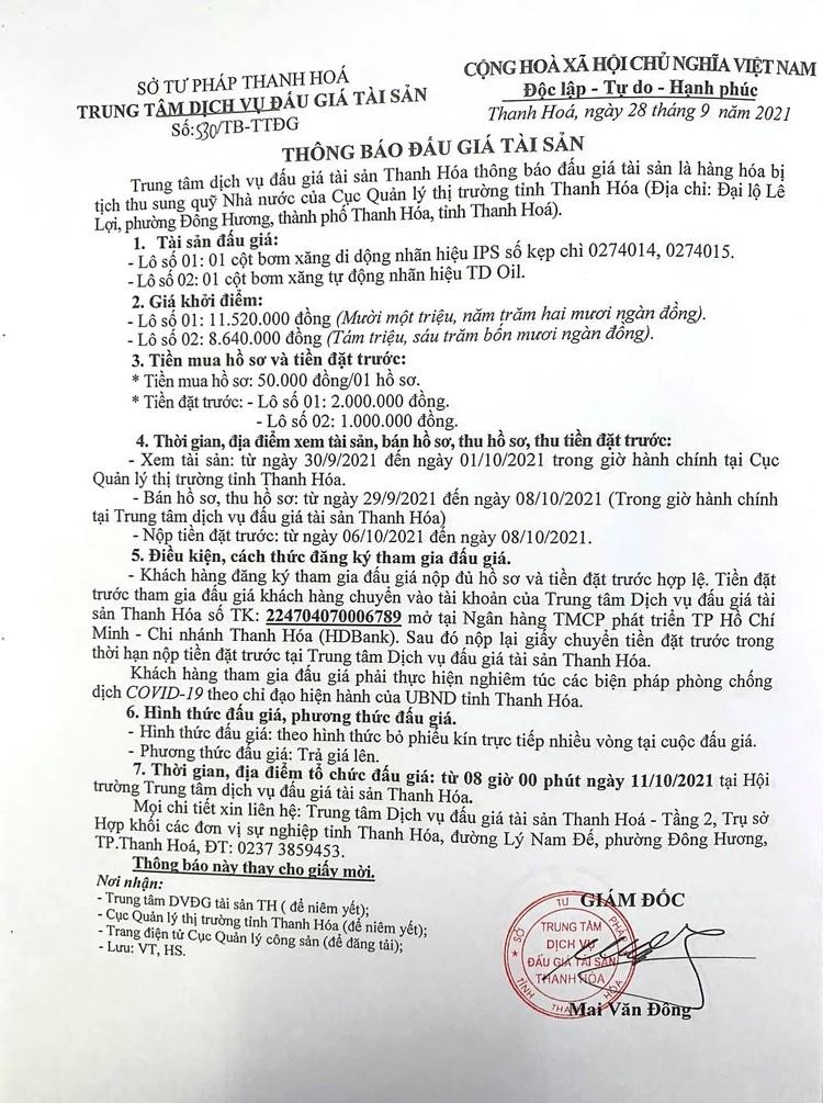 Ngày 11/10/2021, đấu giá cột bơm xăng di dộng tại tỉnh Thanh Hóa ảnh 2