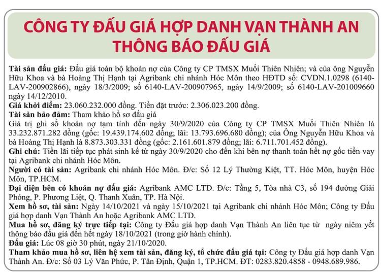 Ngày 21/10/2021, đấu giá khoản nợ của Công ty CP TMSX Muối Thiên nhiên và của ông Nguyễn Hữu Khoa, bà Hoàng Thị Hạnh tại Agribank Chi nhánh Hóc Môn ảnh 1