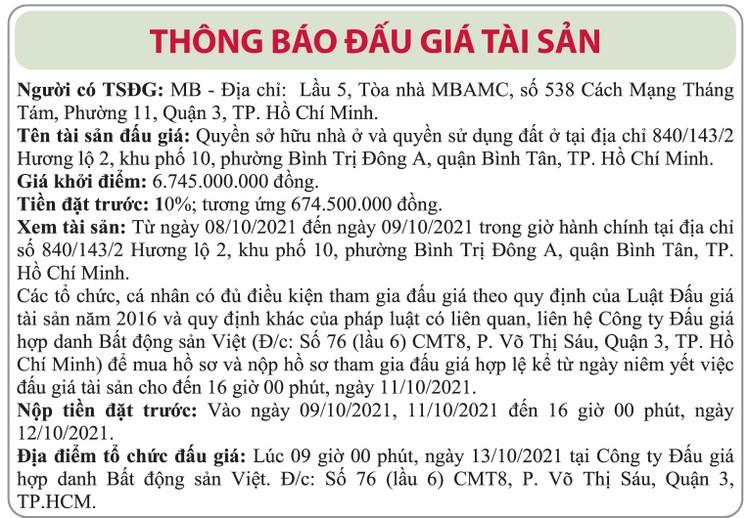 Ngày 13/10/2021, đấu giá quyền sử dụng đất tại quận Bình Tân, TP.HCM ảnh 1