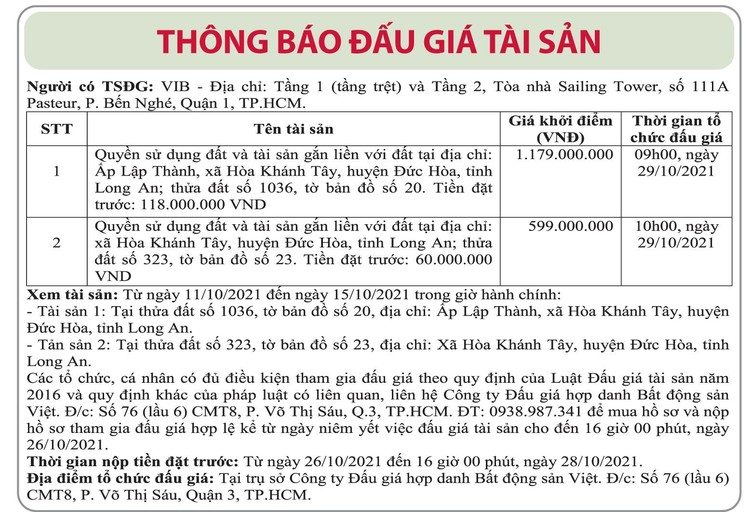 Ngày 29/10/2021, đấu giá quyền sử dụng đất tại huyện Đức Hòa, tỉnh Long An ảnh 1