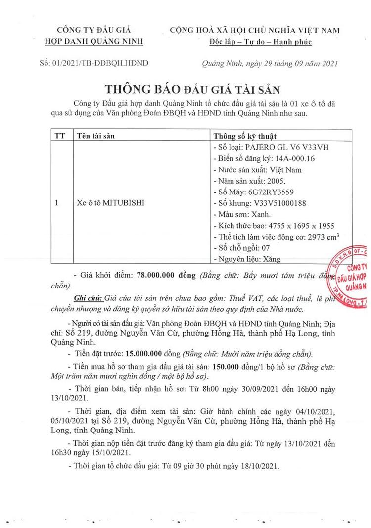 Ngày 18/10/2021, đấu giá xe ô tô MITUBISHI PAJERO tại tỉnh Quảng Ninh ảnh 2