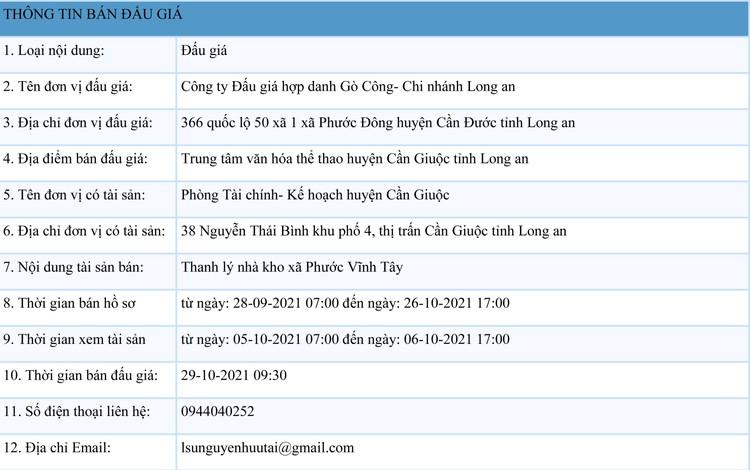 Ngày 29/10/2021, đấu giá nhà kho xã Phước Vĩnh Tây tại tỉnh Long An ảnh 1