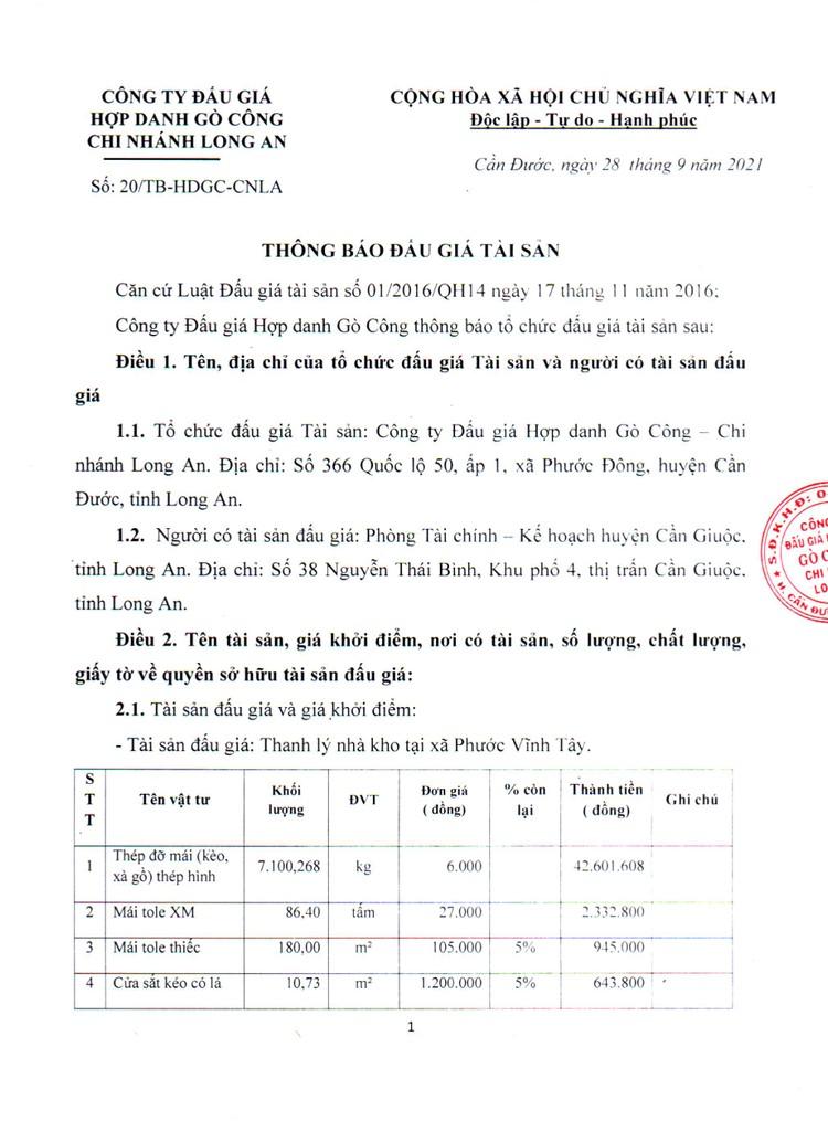 Ngày 29/10/2021, đấu giá nhà kho xã Phước Vĩnh Tây tại tỉnh Long An ảnh 2