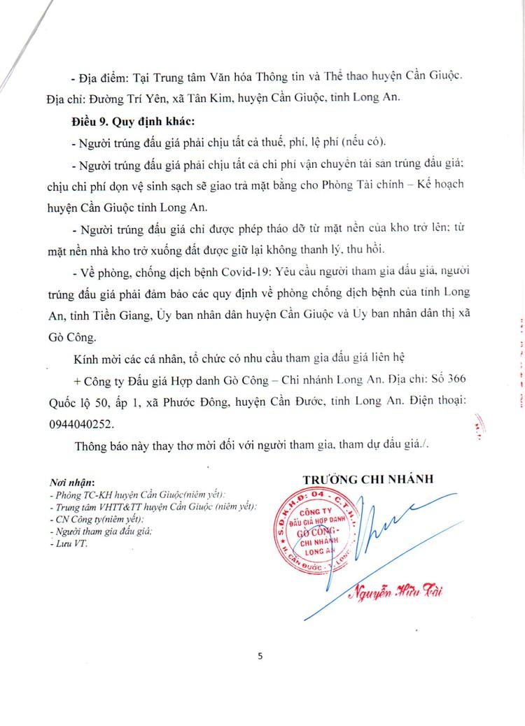 Ngày 29/10/2021, đấu giá nhà kho xã Phước Vĩnh Tây tại tỉnh Long An ảnh 6
