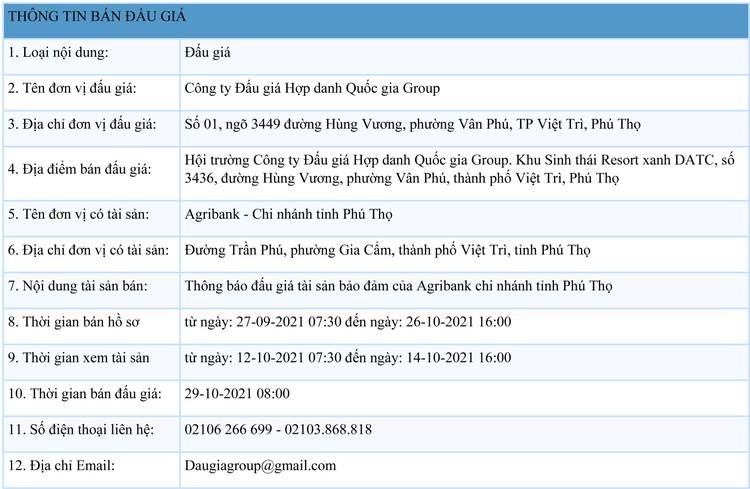 Ngày 29/10/2021, đấu giá quyền sử dụng đất tại huyện Phù Ninh, tỉnh Phú Thọ ảnh 1