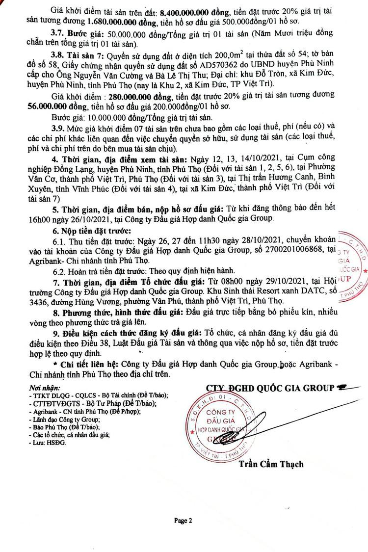 Ngày 29/10/2021, đấu giá quyền sử dụng đất tại huyện Phù Ninh, tỉnh Phú Thọ ảnh 3