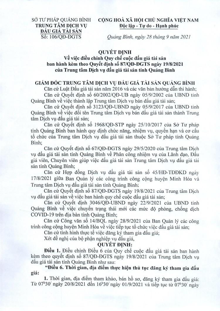 Ngày 18/10/2021, đấu giá cho thuê 29 ô lô, ki ốt tại tỉnh Quảng Bình ảnh 2