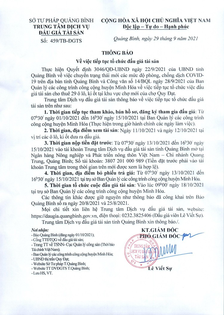 Ngày 18/10/2021, đấu giá cho thuê 29 ô lô, ki ốt tại tỉnh Quảng Bình ảnh 4