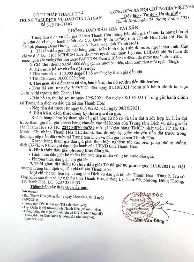 Ngày 11/10/2021, đấu giá hàng hóa tịch thu tại tỉnh Thanh Hóa ảnh 2