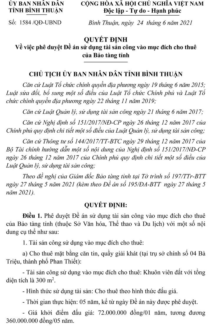 Ngày 21/10/2021, đấu giá mặt bằng căn tin, quầy giải khát tại tỉnh Bình Thuận ảnh 2