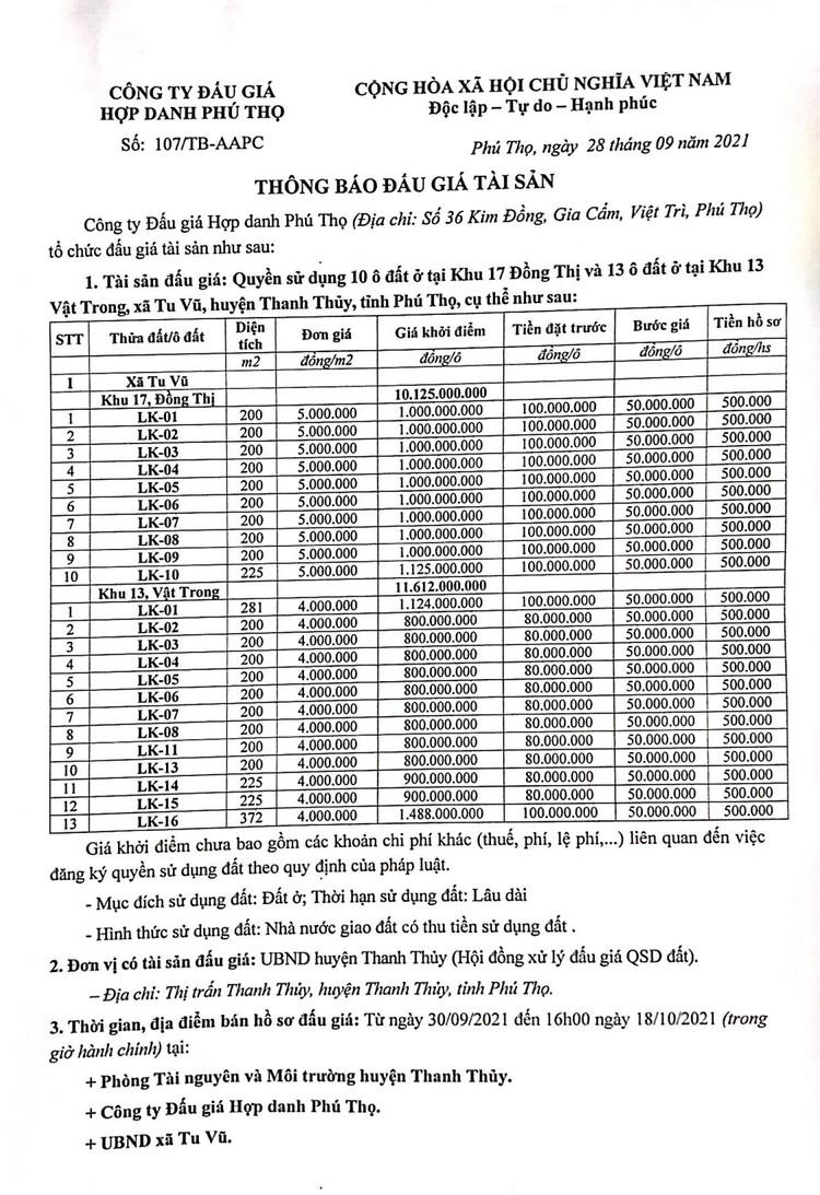 Ngày 21/10/2021, đấu giá quyền sử dụng 10 ô đất tại huyện Thanh Thủy, tỉnh Phú Thọ ảnh 2