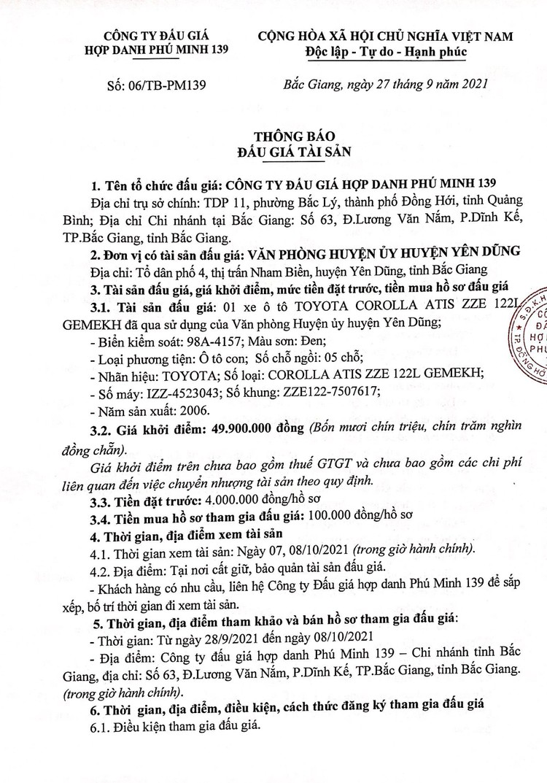 Ngày 12/10/2021, đấu giá 2 xe ô tô tại tỉnh Bắc Giang ảnh 2