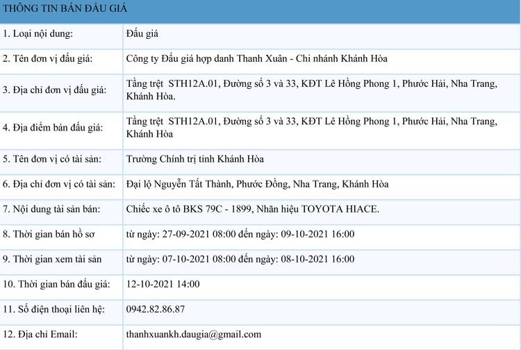 Ngày 12/10/2021, đấu giá xe ô tô TOYOTA HIACE tại tỉnh Khánh Hòa ảnh 1