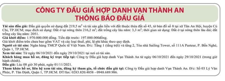Ngày 1/11/2021, đấu giá quyền sử dụng đất tại huyện Củ Chi, TP.HCM ảnh 1