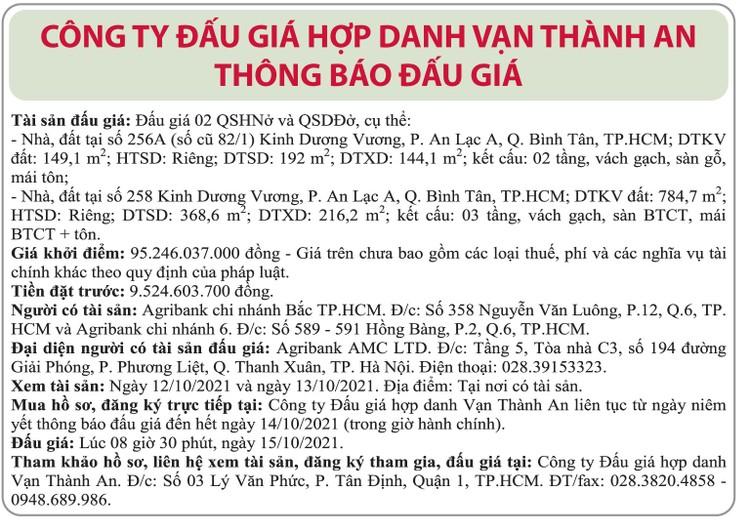 Ngày 15/10/2021, đấu giá quyền sử dụng đất tại quận Bình Tân, TP.HCM ảnh 1