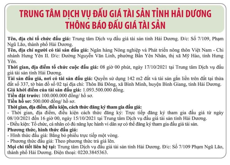 Ngày 17/10/2021, đấu giá quyền sử dụng đất tại huyện Bình Giang, tỉnh Hải Dương ảnh 1