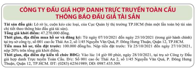 Ngày 28/10/2021, đấu giá lô Rờ le, cuộn kéo các loại tại TP.HCM ảnh 1