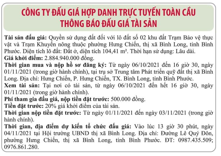 Ngày 4/11/2021, đấu giá quyền sử dụng đất tại thị xã Bình Long, tỉnh Bình Phước ảnh 1