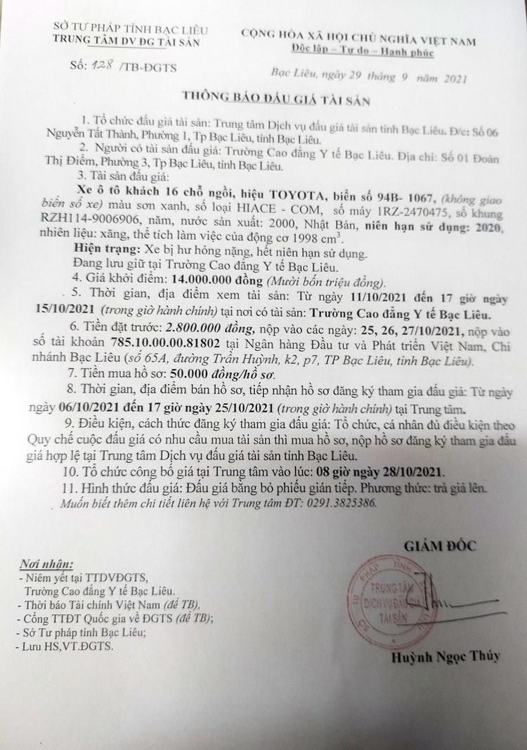 Ngày 28/10/2021, đấu giá xe ô tô TOYOTA tại tỉnh Bạc Liêu ảnh 2