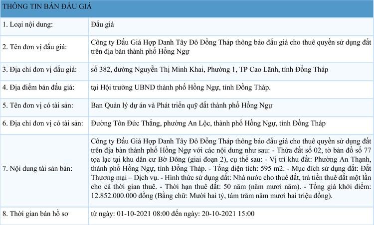 Ngày 25/10/2021, đấu giá quyền sử dụng đất thuê tại thành phố Hồng Ngự, tỉnh Đồng Tháp ảnh 1