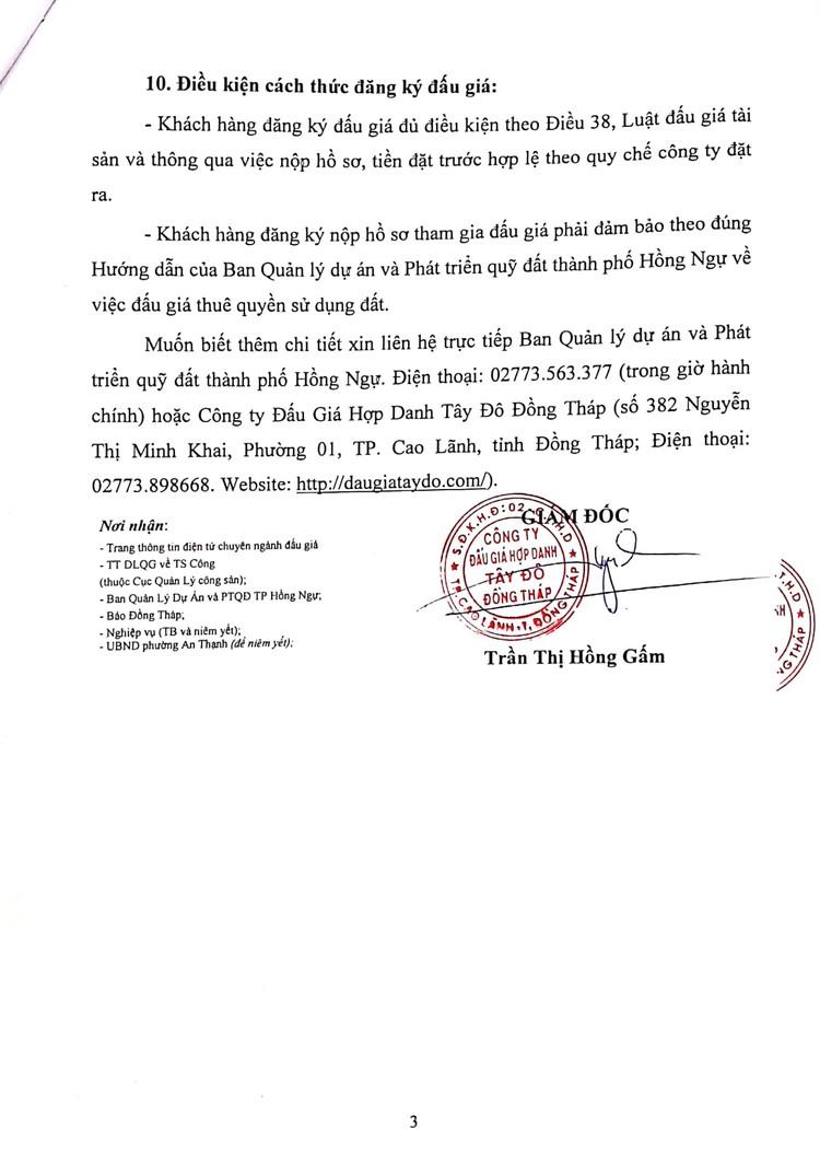 Ngày 25/10/2021, đấu giá quyền sử dụng đất thuê tại thành phố Hồng Ngự, tỉnh Đồng Tháp ảnh 5