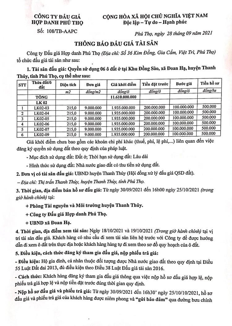 Ngày 28/10/2021, đấu giá quyền sử dụng 6 lô đất tại huyện Thanh Thủy, tỉnh Phú Thọ ảnh 2