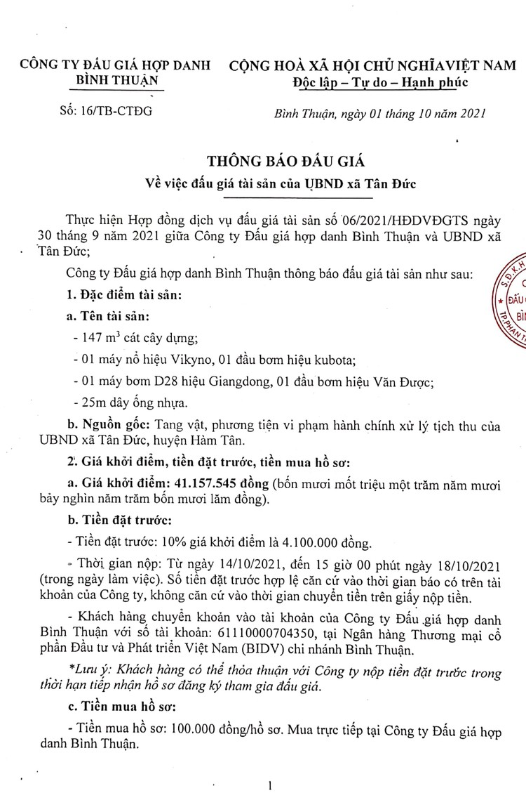 Ngày 19/10/2021, đấu giá tang vật, phương tiện vi phạm hành chính xử lý tịch thu tại tỉnh Bình Thuận ảnh 2