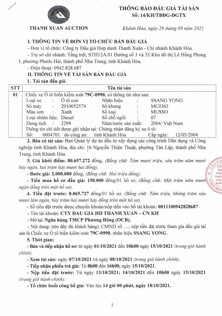 Ngày 18/10/2021, đấu giá xe ô tô SSANG YOUNG tại tỉnh Khánh Hòa ảnh 2