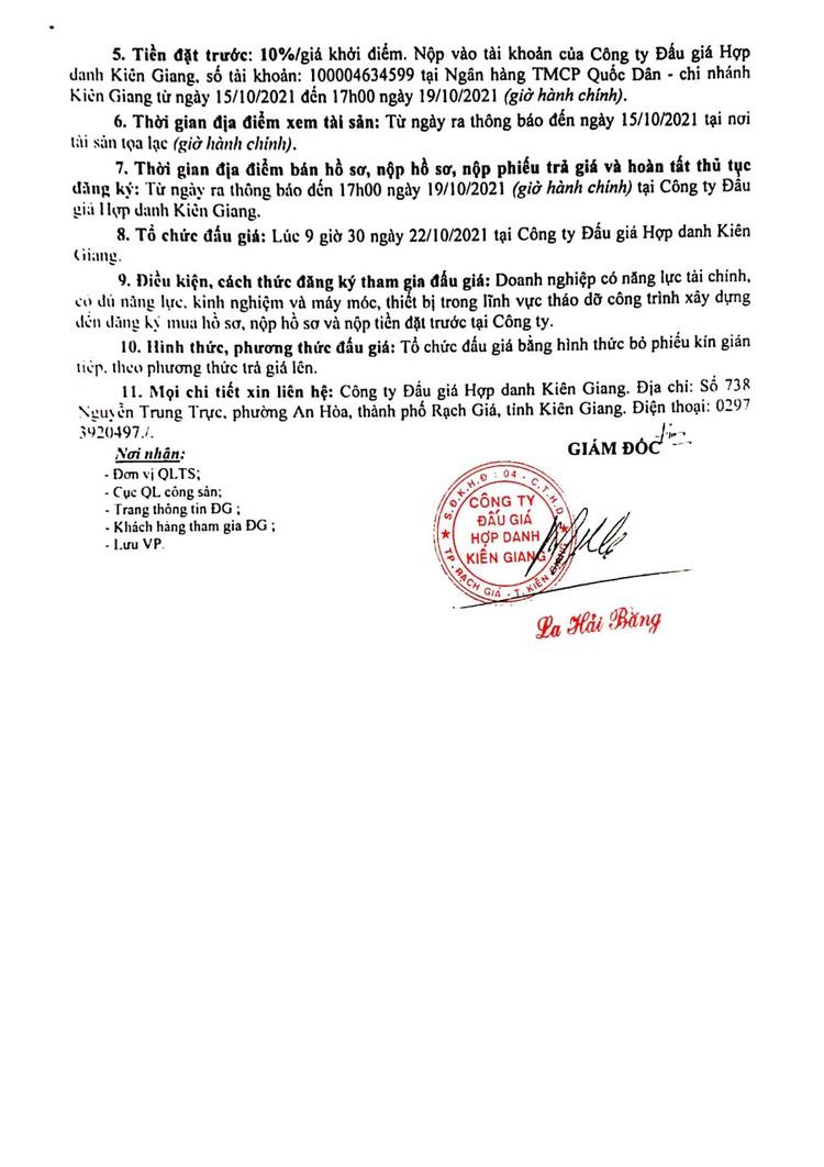 Ngày 22/10/2021, đấu giá thanh lý tháo dỡ nhà kho lưu trữ và nhà để xe tại tỉnh Kiên Giang ảnh 3
