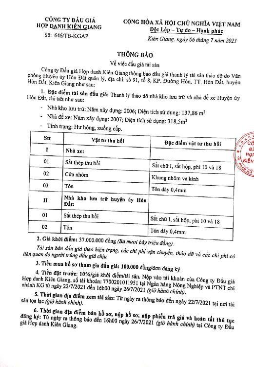 Ngày 22/10/2021, đấu giá thanh lý tháo dỡ nhà kho lưu trữ và nhà để xe tại tỉnh Kiên Giang ảnh 4