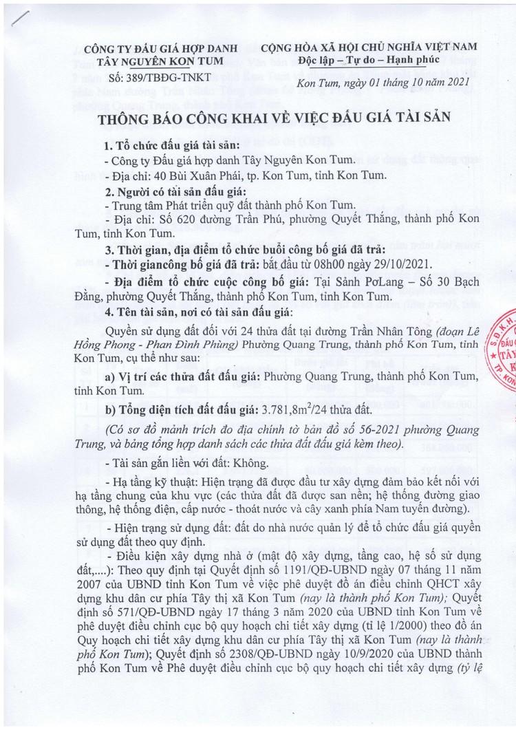 Ngày 29/10/2021, đấu giá quyền sử dụng 24 thửa đất tại thành phố Kon Tum, tỉnh Kon Tum ảnh 2