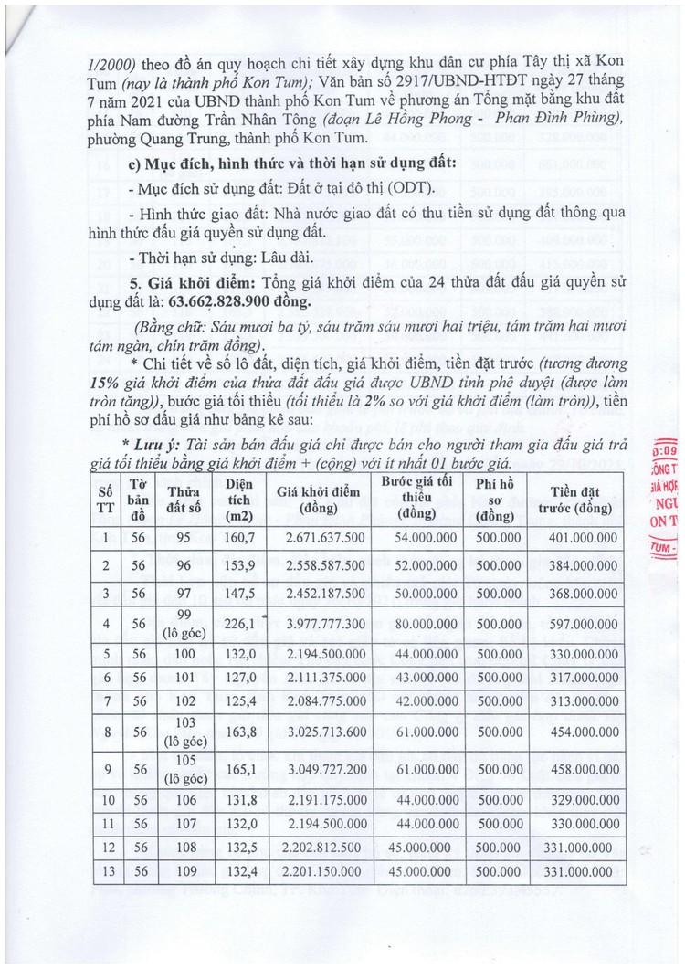 Ngày 29/10/2021, đấu giá quyền sử dụng 24 thửa đất tại thành phố Kon Tum, tỉnh Kon Tum ảnh 3