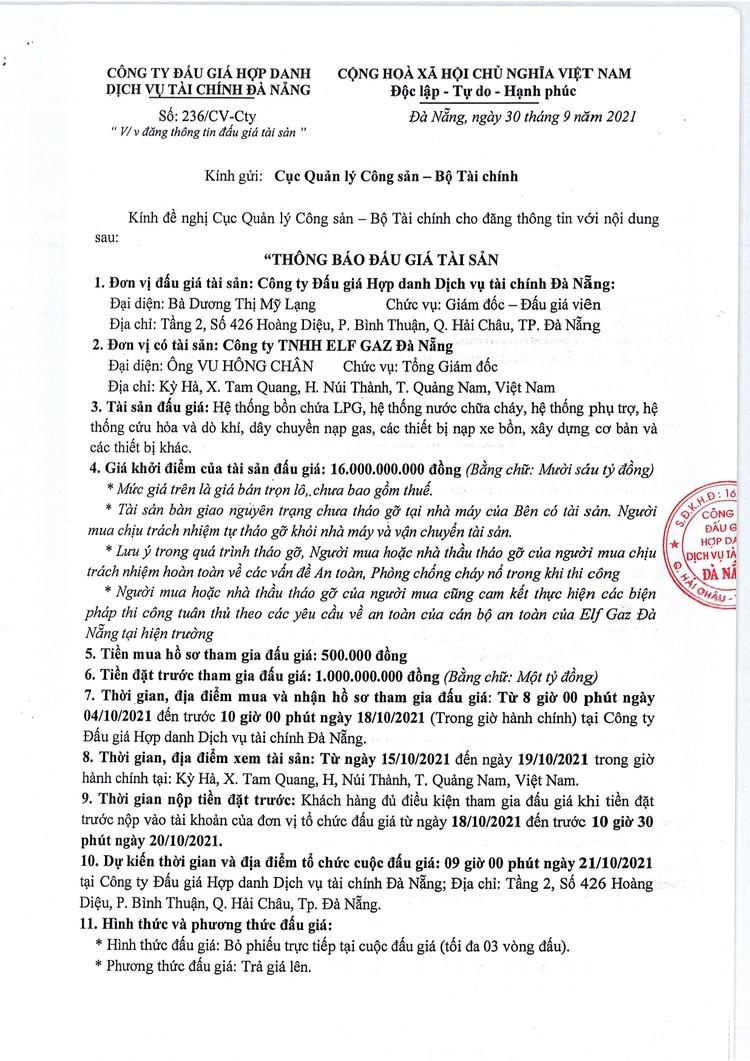 Ngày 21/10/2021, đấu giá hệ thống bồn chứa, hệ thống chữa cháy tại TP. Đà Nẵng ảnh 2