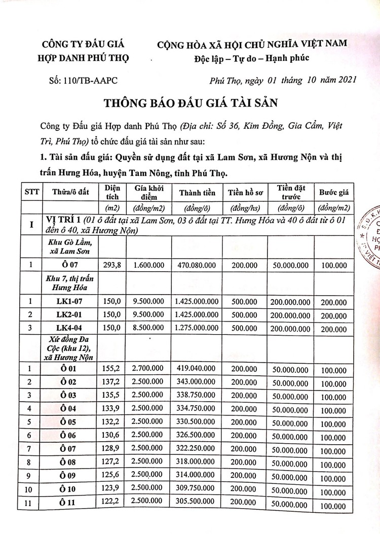 Ngày 23/10/2021, đấu giá quyền sử dụng 90 lô đất tại huyện Tam Nông, tỉnh Phú Thọ ảnh 3