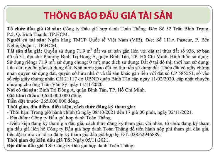 Ngày 5/11/2021, đấu giá quyền sử dụng đất tại quận Bình Tân, TP.HCM ảnh 1