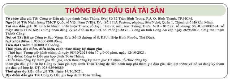 Ngày 14/10/2021, đấu giá xe ô tô Thaco tại TP.HCM ảnh 1