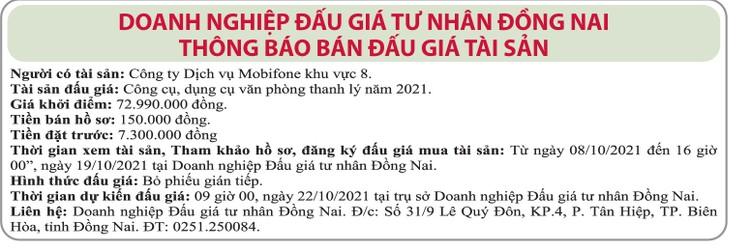 Ngày 22/10/2021, đấu giá công cụ, dụng cụ văn phòng thanh lý tại tỉnh Đồng Nai ảnh 1