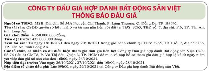 Ngày 29/10/2021, đấu giá quyền sử dụng đất tại TP.Tân An, tỉnh Long An ảnh 1