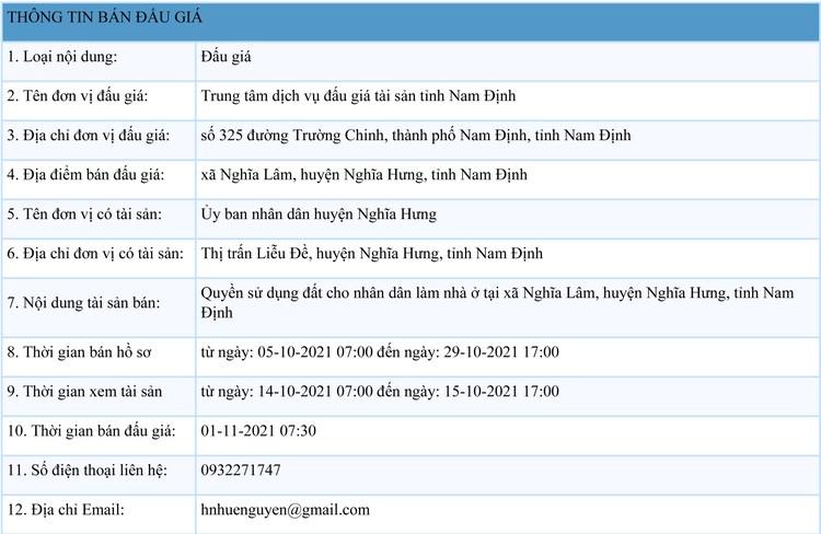 Ngày 1/11/2021, đấu giá quyền sử dụng đất tại huyện Nghĩa Hưng, tỉnh Nam Định ảnh 1