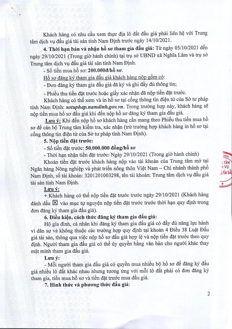 Ngày 1/11/2021, đấu giá quyền sử dụng đất tại huyện Nghĩa Hưng, tỉnh Nam Định ảnh 3