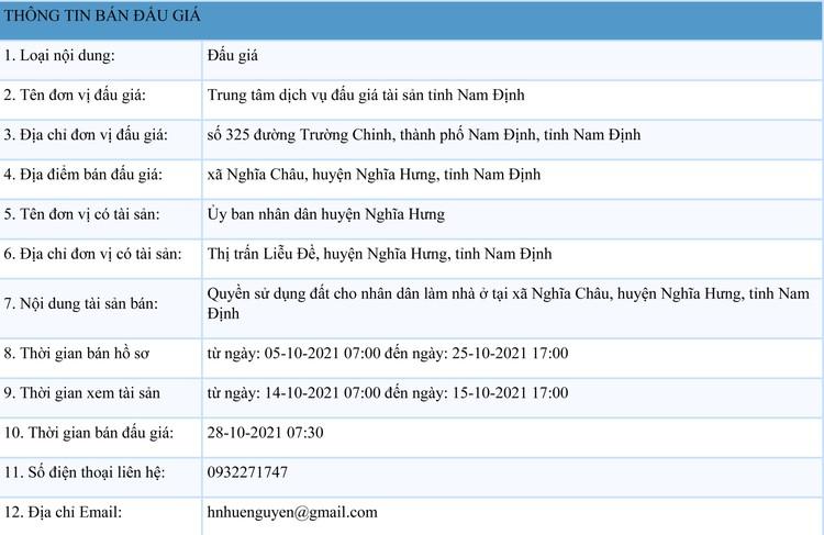 Ngày 28/10/2021, đấu giá quyền sử dụng đất tại huyện Nghĩa Hưng, tỉnh Nam Định ảnh 1