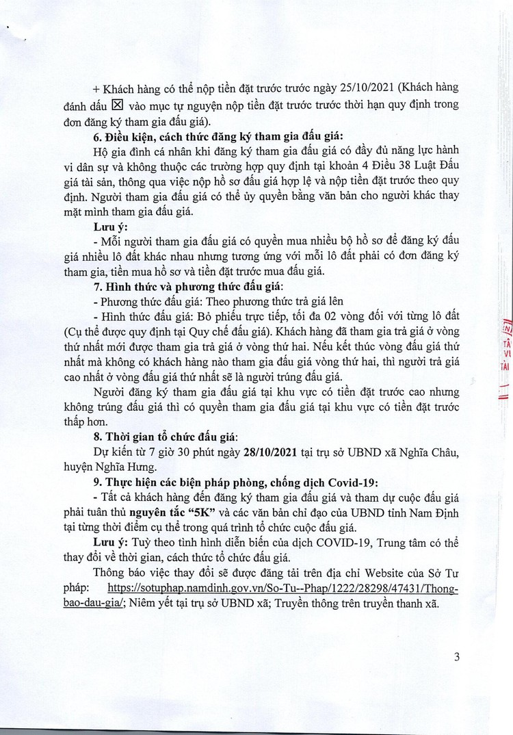 Ngày 28/10/2021, đấu giá quyền sử dụng đất tại huyện Nghĩa Hưng, tỉnh Nam Định ảnh 4