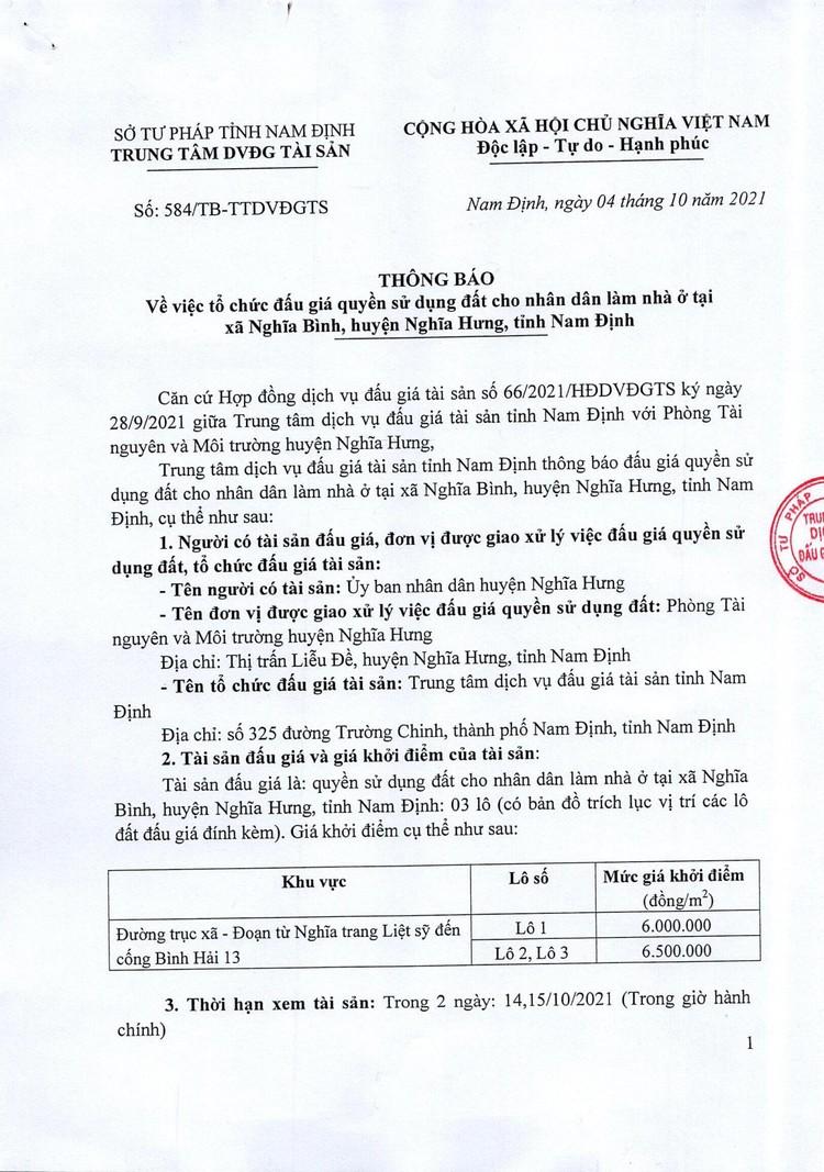 Ngày 25/10/2021, đấu giá quyền sử dụng đất tại huyện Nghĩa Hưng, tỉnh Nam Định ảnh 2